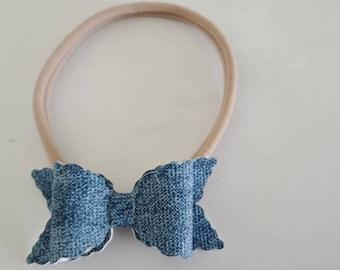 Denim Leatherette Bow Headband, Newborn Headband, Toddler Headband, Elegant Headband, Photo Prop, Baby Photo, Headband