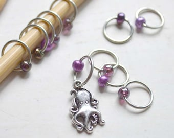 SALE!! Knitting Stitch Markers - Inky Octopus - Snag Free - Made to order in your choice of 4 sizes