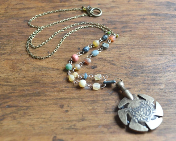 Yarn/Thread Cutter Pendant Necklace - Antique Gold - Easily and safely cut yarn!