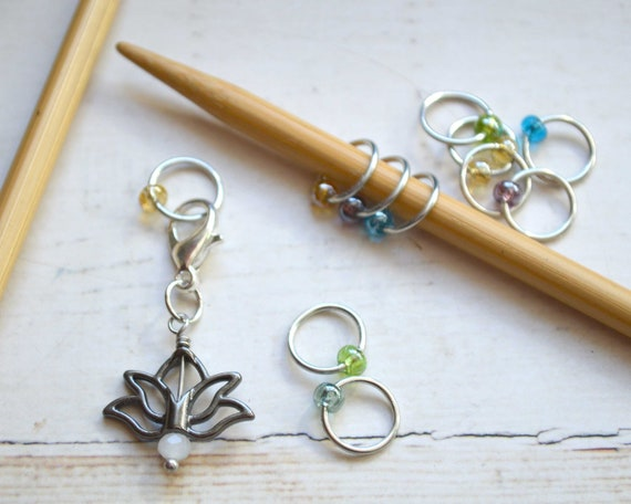 Knitting Stitch Markers - Lotus Flower / Snag Free / Small Medium Large Sizes Available