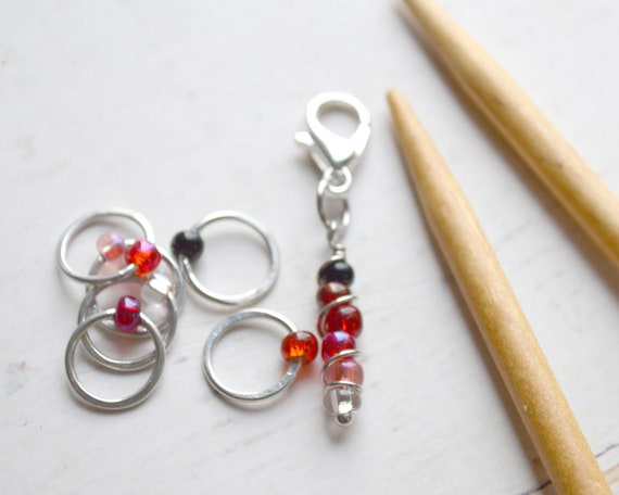 Knitting Stitch Markers - Ombre Collection - Red / Stitch Markers for Knitters / Multiple Sizes Made to Order