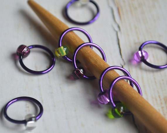 Radiant Orchid / Snag Free Knitting Stitch Markers - Small Medium Large Sizes Available