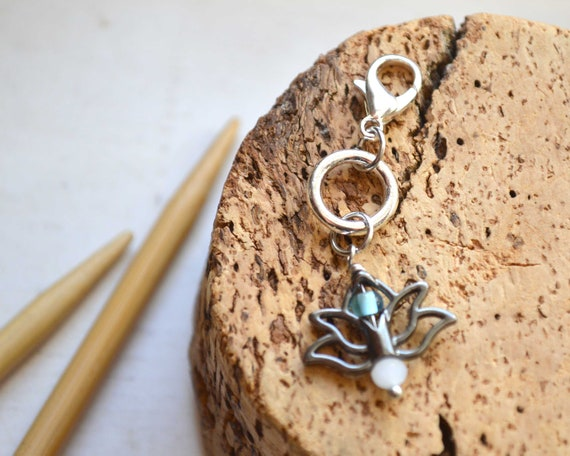 Knitting Stitch Marker - Lotus Flower / Removable or Progress Stitch Marker / Single Stitch Marker for Knitters