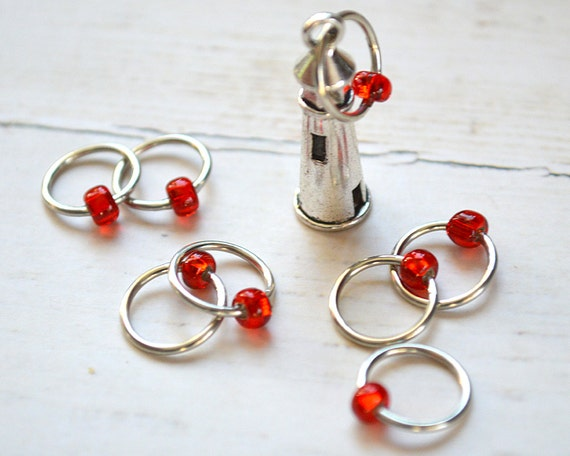 SALE!! Knitting Stitch Marker Set - Nubble Lighthouse - Snag Free Stitch Markers - Multiple Sizes Available