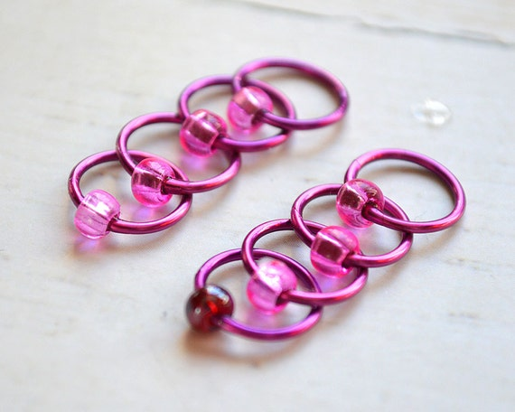 Stitch Markers - Raspberry Tart - Dangle Free Snag Free Knitting Stitch Markers - Small Medium Large Sizes Available