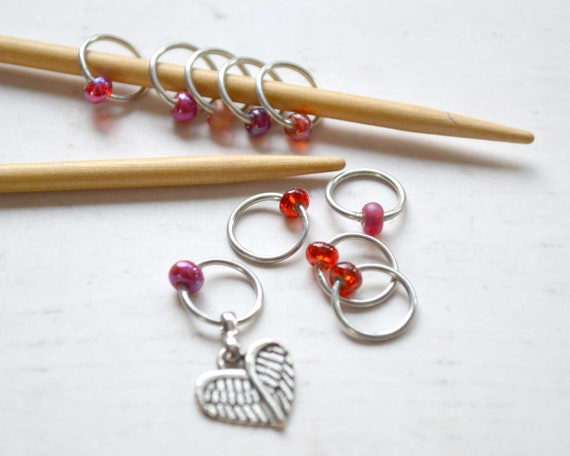 Stitch Markers - Wings of Love / Snag Free / Small Medium Large Sizes Available