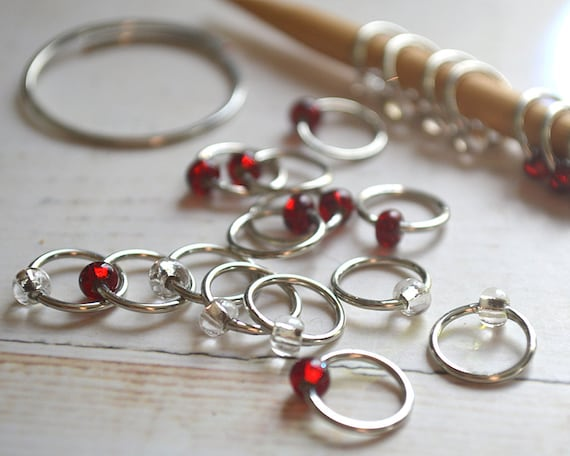 Rubies and Diamonds / Knitting Stitch Markers - Dangle Free Snag Free Knitting Stitch Markers - Small Medium Large Sizes Available