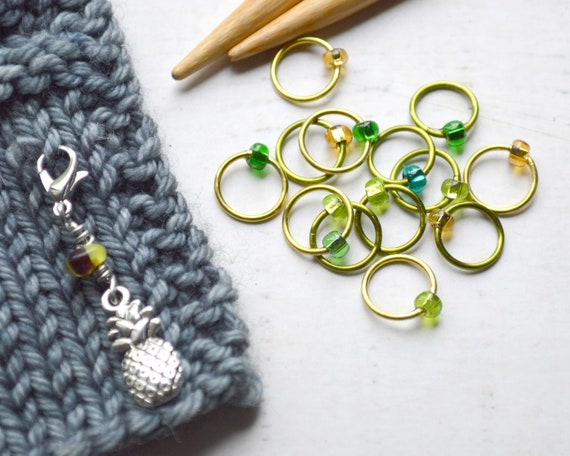 Knitting Stitch Markers - Tropical Pineapple / Snag Free / Small Medium Large Sizes Available