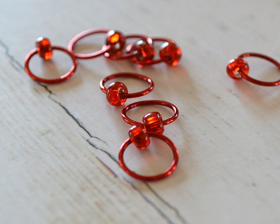 Stitch Markers - POP of Red - Dangle Free, Snag Free Knitting Stitch Markers - Small Medium Large Sizes Available