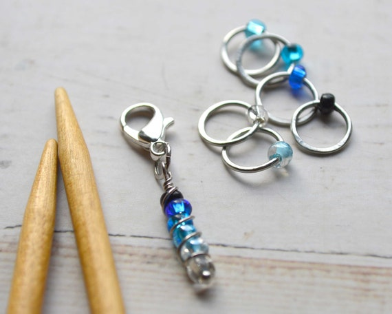 Knitting Stitch Markers - Ombre Collection - Blue / Stitch Markers for Knitters / Multiple Sizes Made to Order
