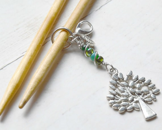Knitting Stitch Marker - Through the Forest / Removable or Progress Stitch Marker / Single Stitch Marker for Knitters
