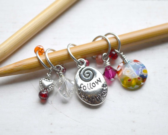 Knitting Stitch Markers - Follow Your Heart / Snag Free / Small - Medium - Large Sizes Available