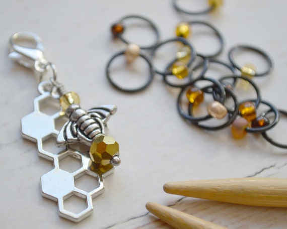 Knitting Stitch Markers - Honeybee / Snag Free / Small Medium Large Sizes Available