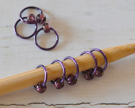 POP of Purple / Stitch Markers - Dangle Free Snag Free Knitting Stitch Markers - Small Medium Large Sizes Available
