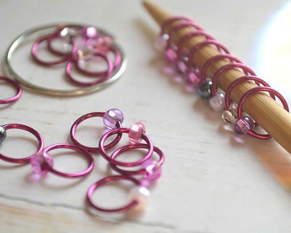 Knitting Stitch Markers - Hibiscus - Dangle Free Snag Free Knitting Stitch Markers - Small Medium Large Sizes Available