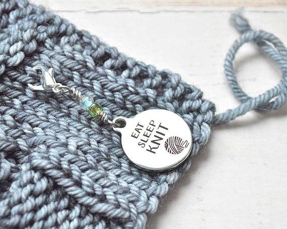 Knitting Progress Marker - Eat Sleep Knit - Removable Stitch Marker - Crochet Stitch Marker - Locking Stitch Marker