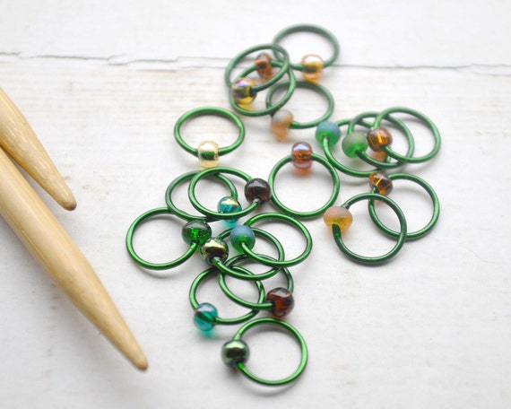 Knitting Stitch Markers - Enchanted Forest - Snag Free Knitting Stitch Markers - Small Medium Large Sizes Available