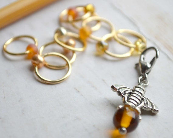 Knitting Stitch Markers - Honey Bee / Snag Free / Multiple Sizes Available
