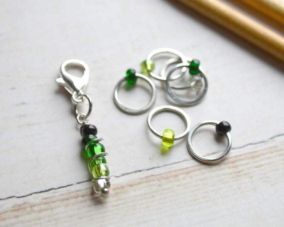 Stitch Markers - Ombre Collection - Green / Stitch Markers for Knitters / Multiple Sizes Made to Order