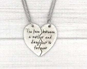 Hand stamped matching split heart mother/daughter necklace set - Mothers gift - daughter gift