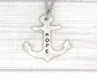 Hand stamped Personalized cast pewter anchor pendant necklace - hope anchors the soul