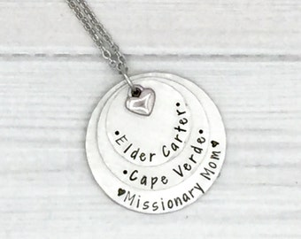 Missionary Mom necklace • Hand Stamped Mission Necklace • Commemorate Mission • Called to Serve • LDS Mission • Missionary Mom Gift