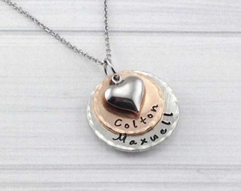 FREE SHIPPING * Mixed Metal Bronze and Pewter Double Stack Hand Stamped, personalized keepsake necklace