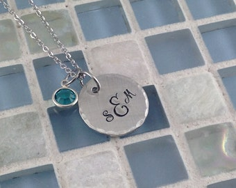 Hand stamped Pewter Monogram pendant necklace with birthstone - personalized - sterling silver alternative