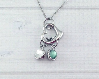 Mommy heart necklace with crystal dangles