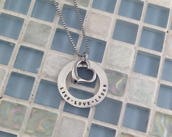 Hand stamped Pewter Washer Necklace personalized with heart charm