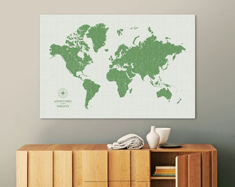 Push Pin Map of the World to Track your Travels, Personalized, Map Pins, Custom Color, Large Canvas Modern Wall Art, Gift, Vintage Green