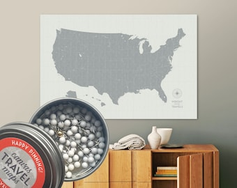 United States map with push pins in custom colors and personalized