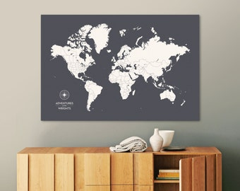 Push Pin Travel Map, Push Pin World Map, Pin Map, Custom Map, World Travel Map, World Map Canvas, Push Pin Map, Large World Map, Travel Map