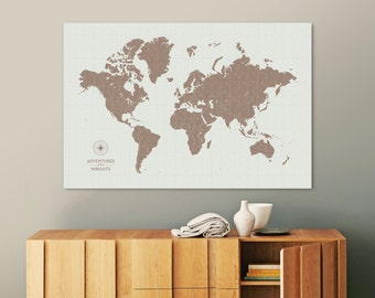 Push Pin Travel Map, World Map Push Pin, Pin Map, Custom Map, World Travel Map, World Map Canvas, Push Pin Map, Large World Map, Vintage Map