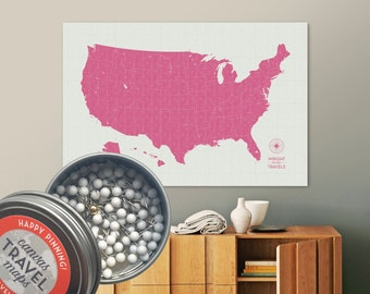 Push Pin US Map Vintage Earth Create Map With Pins Road Etsy - Create a pinpoint map