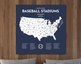 Personalized MLB stadium map with push pins, US baseball travel quest ballparks of Major League teams Man Cave gift, Navy, Choose size