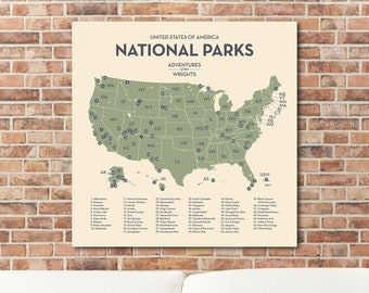 Updated National Park Map with push pins in custom colors and personalized