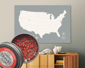 Push Pin US Map with pins in custom colors and personalized