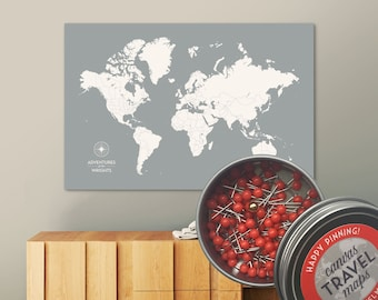 Push Pin World Map with Pins in Custom Colors and Personalization