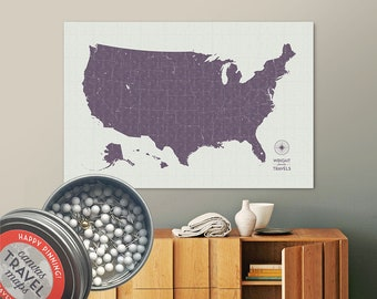Vintage Push Pin USA Map (Dusk) Travel Map Push Pin Map Gift Road Trip Map of the USA on Canvas Personalized Gift For Family Name Sign
