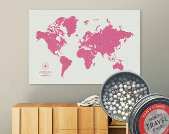 Vintage Push Pin Map (Flower) Push Pin World Map Pin Board World Travel Map on Canvas Push Pin Travel Map Personalized Gift for Family
