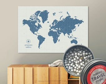 Vintage Push Pin Map (Storm) Push Pin World Map Pin Board World Travel Map on Canvas Push Pin Travel Map Personalized Gift for Family