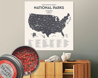 Modern National Park Map Push Pin Travel Map gift for travelers nature lover mindfulness gift adventure awaits wanderlust USA travel map