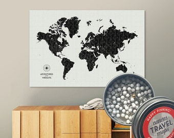 Vintage Push Pin Map (Black) Push Pin World Map Pin Board World Travel Map on Canvas Push Pin Travel Map Personalized Gift for Family