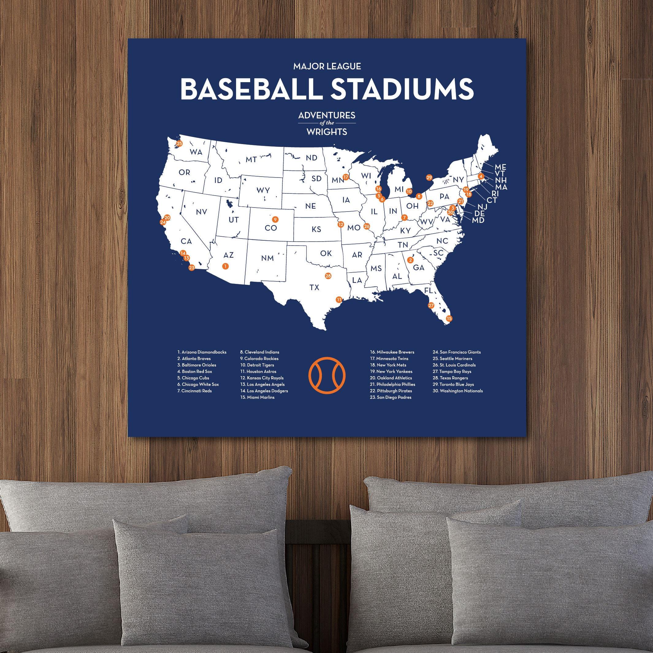 9292f2543 Personalized MLB stadium map with push pins US baseball