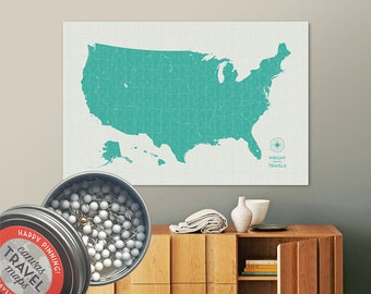 Vintage Push Pin USA Map (Marina) Travel Map Push Pin Map Gift Road Trip Map of the USA on Canvas Personalized Gift For Family Name Sign