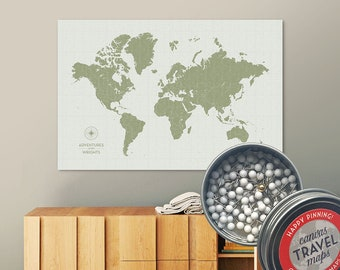 Vintage Push Pin Map (Moss) Push Pin World Map Pin Board World Travel Map on Canvas Push Pin Travel Map Personalized Gift for Family