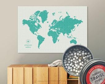 Vintage Push Pin Map (Marina) Push Pin World Map Pin Board World Travel Map on Canvas Push Pin Travel Map Personalized Gift for Family