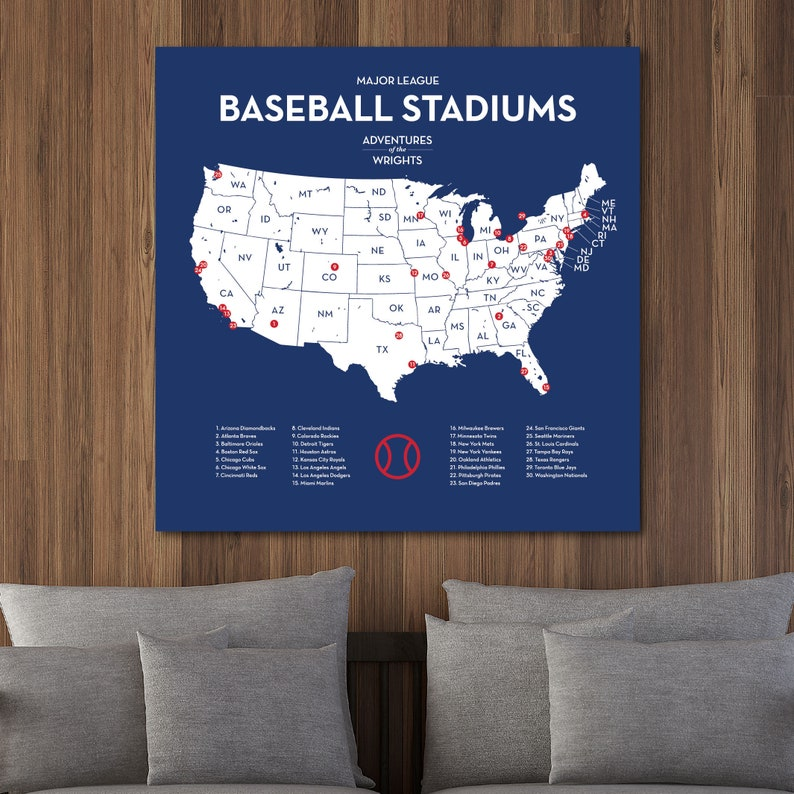 Personalized MLB stadium map with push pins, US baseball travel quest  ballparks of Major League teams, Chicago Cubs gift, Choose size