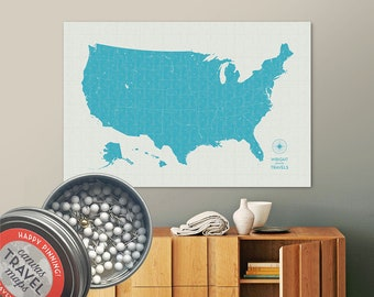 Vintage Push Pin USA Map (Aqua) Travel Map Push Pin Map Gift Road Trip Map of the USA on Canvas Personalized Gift For Family Name Sign